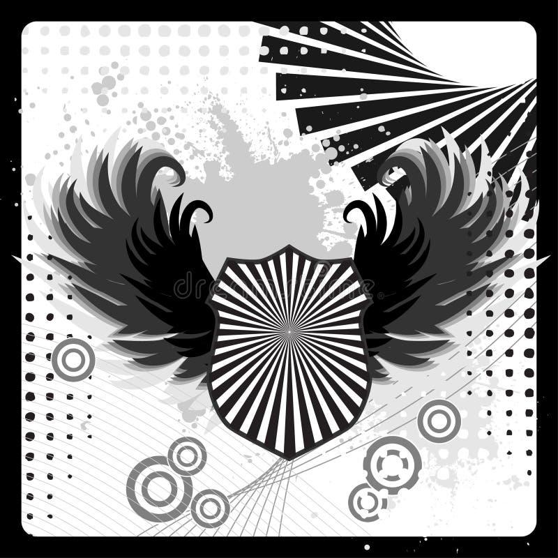 Armadura do protetor de Grunge com asas ilustração royalty free