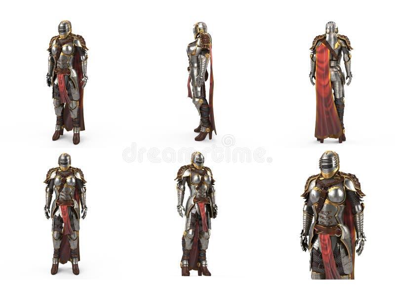 Armadura medieval de la fantasía por completo de mujeres con un casco cerrado y un cabo rojo Fondo blanco aislado ilustración 3D stock de ilustración