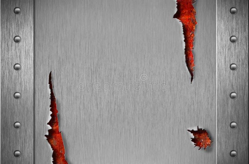 Armadura rasgada del metal sobre fondo oxidado del grunge fotografía de archivo