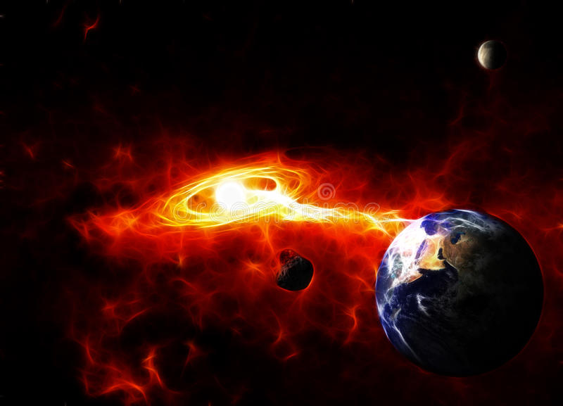 Armageddon. Meteor Falling to the Earth. The Earth map is public domain from NASA royalty free stock images