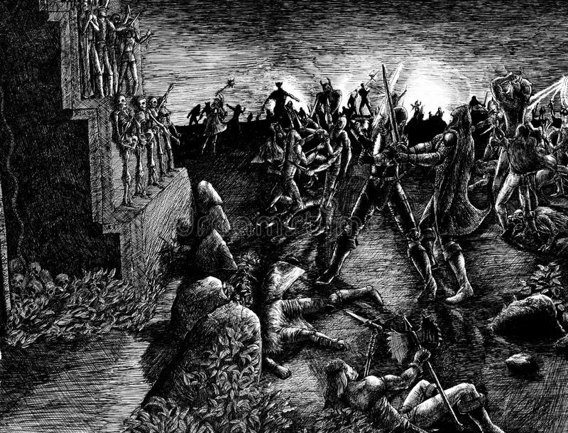 Armageddon battlefield stock illustration