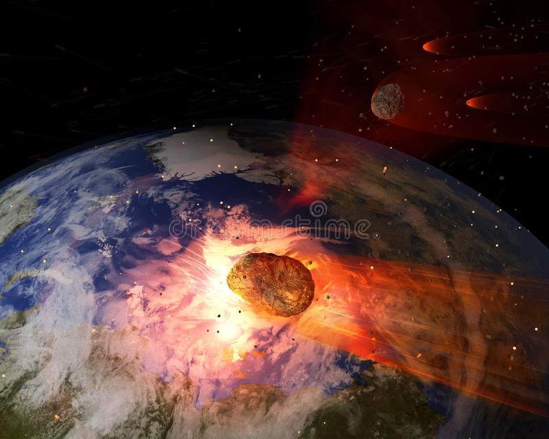 Armageddon (element som möbleras av NASA) royaltyfri illustrationer