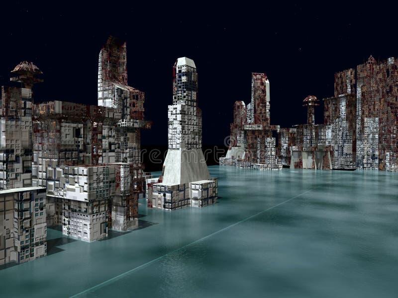 Armageddon nella rappresentazione di New York 3d illustrazione di stock
