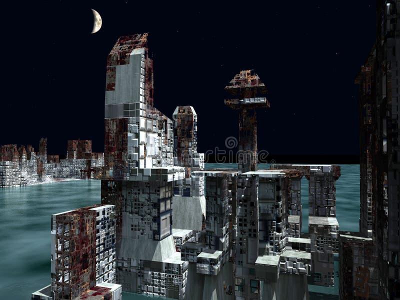 Armageddon nella rappresentazione di New York 3d illustrazione vettoriale
