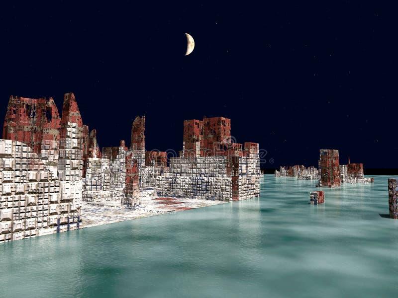 Armageddon nella rappresentazione di New York 3d royalty illustrazione gratis