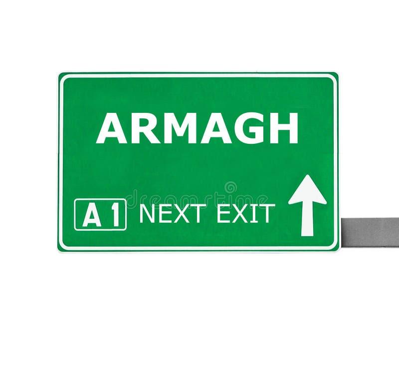 ARMAGH vägmärke som isoleras på vit arkivfoton