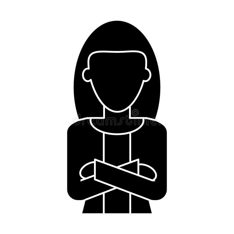 Armar för kors för affär för jobb för konturkvinnaledare stock illustrationer