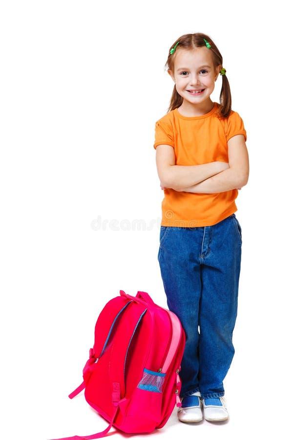 armar korsade flickan little arkivfoton
