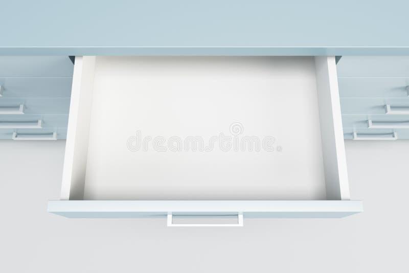 Armario con el cajón abierto ilustración del vector