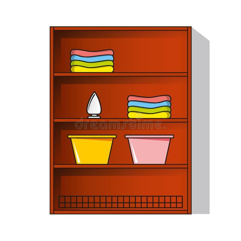 Armario de lino del vector, guardarropa con ropa libre illustration