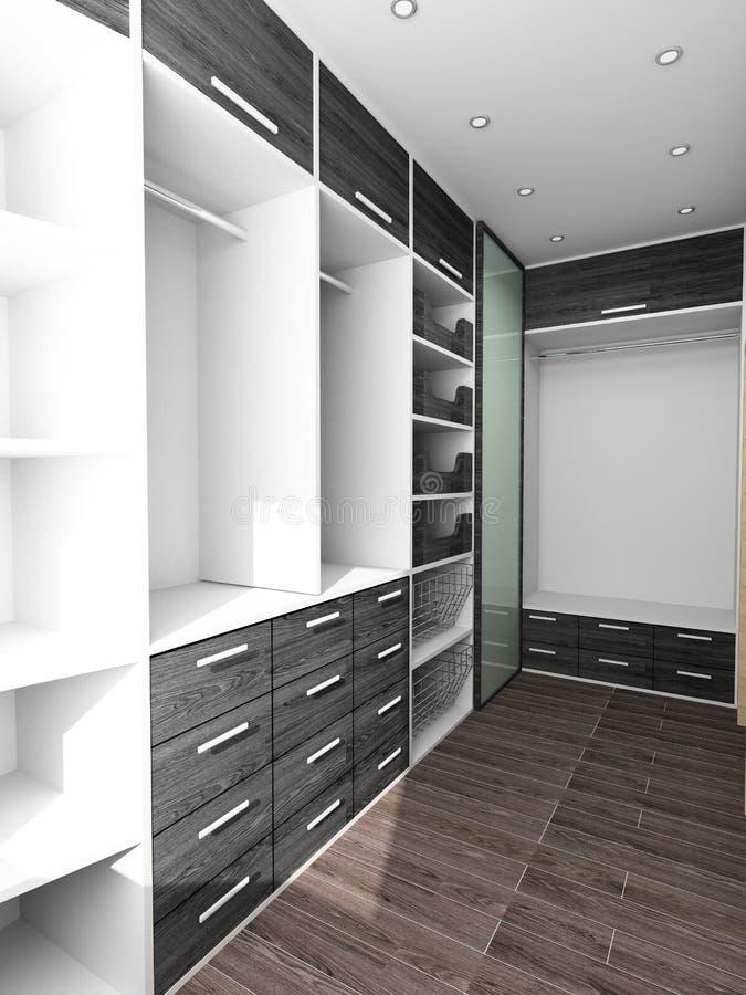 Armario grande en el interior casero ilustración del vector