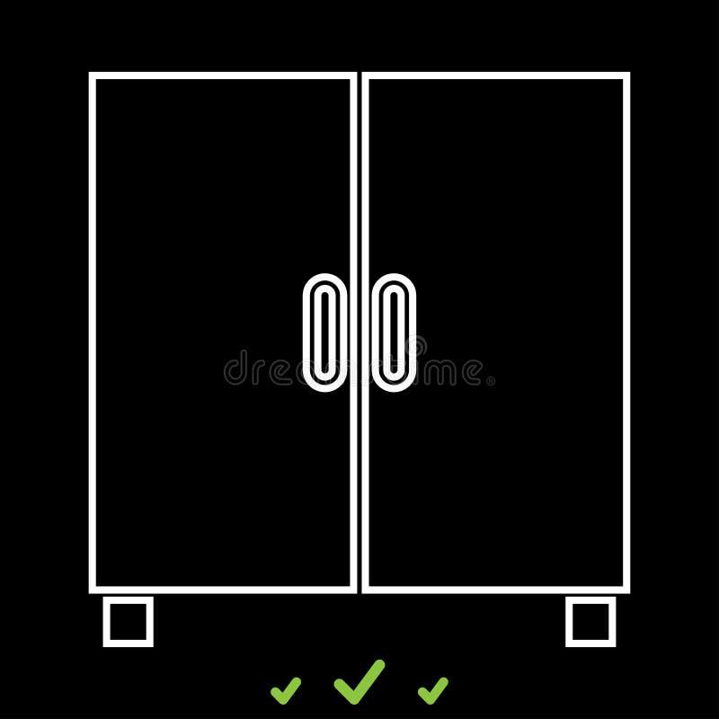 Armario o gabinete es icono blanco stock de ilustración