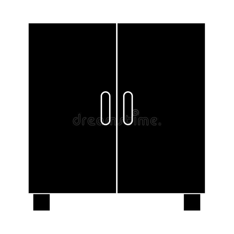 Armario o gabinete es icono negro stock de ilustración