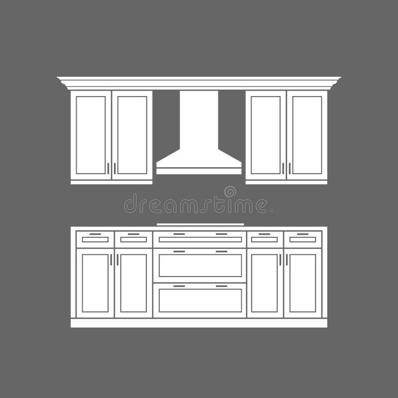 Armarios de cocina modernos con el ejemplo del vector del cooktop stock de ilustración
