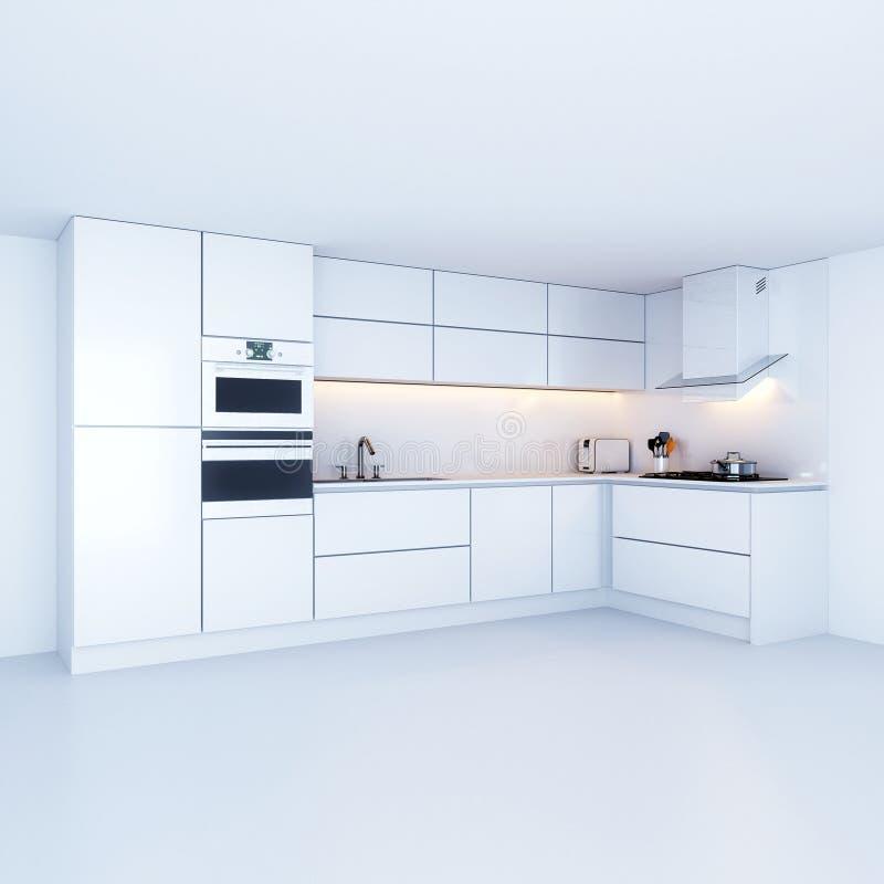 Armarios de cocina modernos en nuevo interior blanco libre illustration
