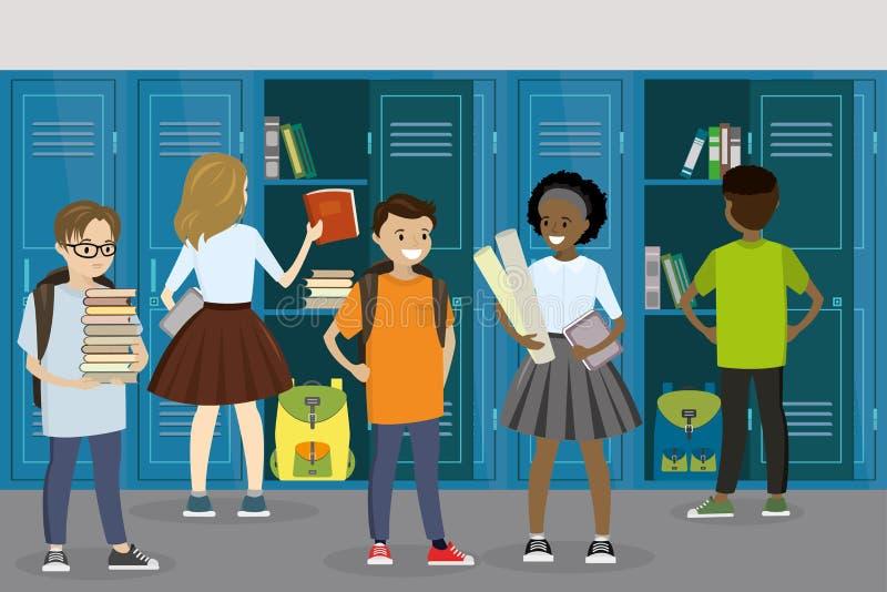 Armarios y estudiantes en el pasillo de la escuela, escuela interior, schoolbo ilustración del vector