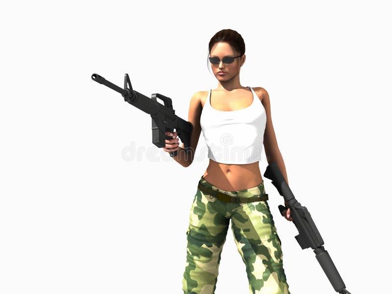Armas de la explotación agrícola de la mujer del soldado stock de ilustración