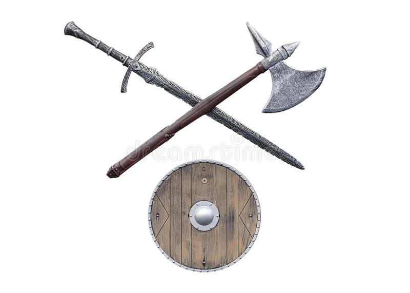 Armas de Viking aisladas en el fondo blanco fotografía de archivo libre de regalías