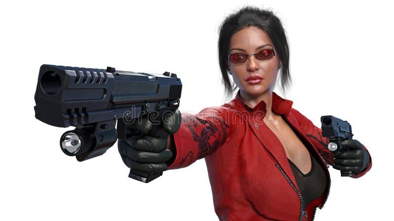 Armas del tiroteo de la muchacha de la acción, mujer en traje de cuero rojo con las armas de la mano aisladas en el fondo blanco, stock de ilustración