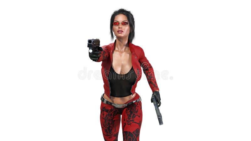 Armas del tiroteo de la muchacha de la acción, mujer en traje de cuero rojo con las armas de la mano que corren en el fondo blanc libre illustration
