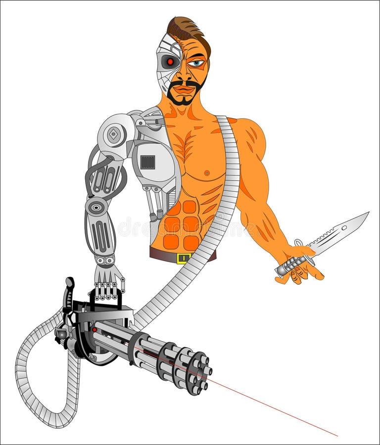 Armas do Cyborg do futuro ilustração royalty free