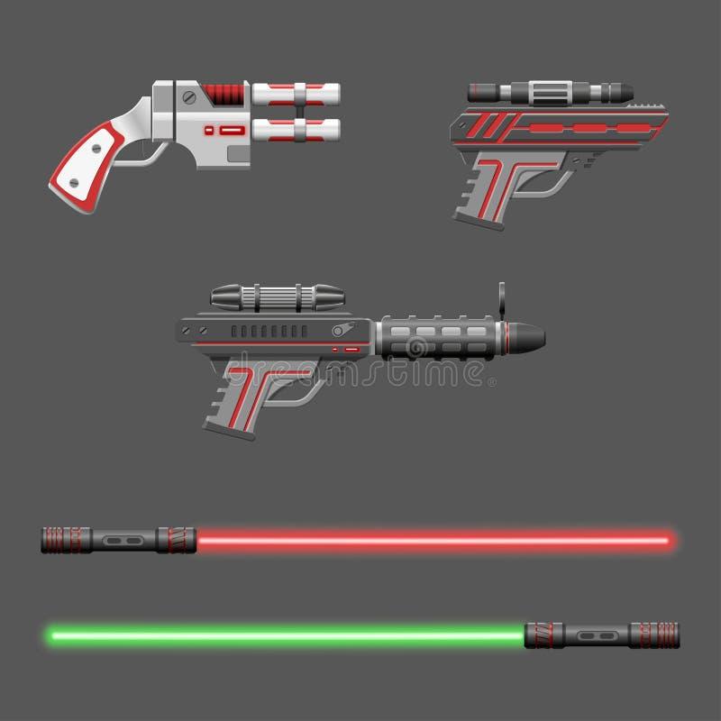 Armas fijados Armas del videojuego Colección del dispositivo de la realidad virtual libre illustration