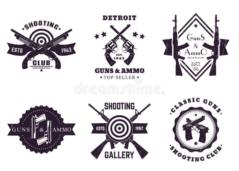 Armas, logotipos del vintage con los rifles, revólver, pistolas libre illustration