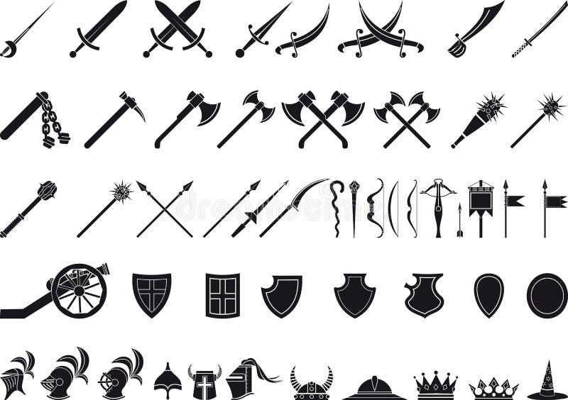 Armas medievais ilustração royalty free