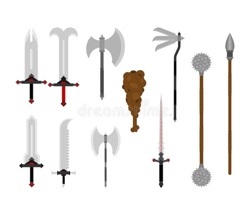 Armas medievais ajustadas arma antiga da armadura do metal Espada e machado Halberd ou lança Sabre e clube Mace e estrela da manh ilustração royalty free