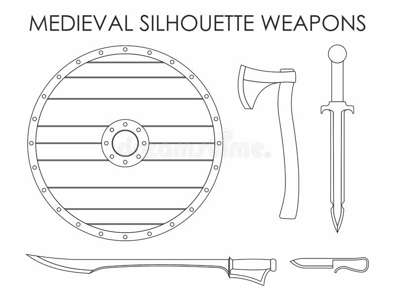 Armas medievales de la silueta libre illustration