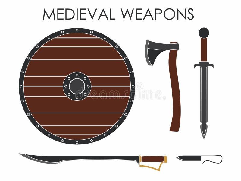 Armas medievales sin la silueta ilustración del vector