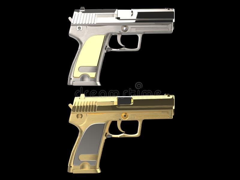Armas modernas brilhantes douradas e de prata da m?o ilustração stock