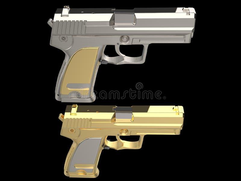Armas modernas brilhantes douradas e de prata da m?o - opini?o superior da pena ilustração royalty free