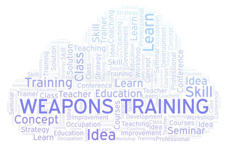 Armas que entrenan a la nube de la palabra ilustración del vector