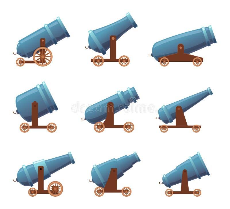 Armas retros del cañón El sistema medieval pesado de la historieta del vector de las armas de la lucha del pirata de la artillerí stock de ilustración