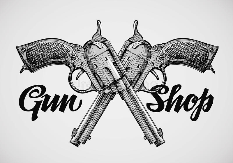 Armas tiradas mão do vintage Pistolas cruzadas Ilustração do vetor ilustração do vetor