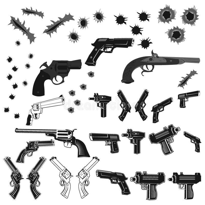 Armas y agujeros de bala fijados ilustración del vector