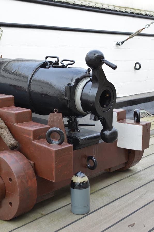 Armatni pokład na HMS wojowniku obrazy stock