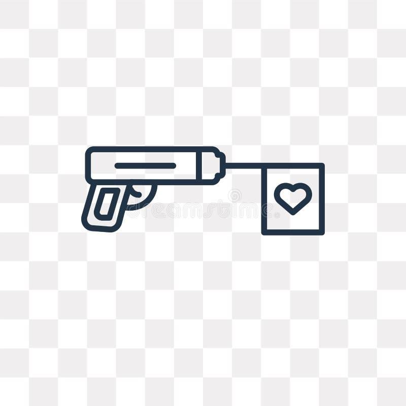 Armatnia wektorowa ikona odizolowywająca na przejrzystym tle, liniowy pistolet t ilustracji