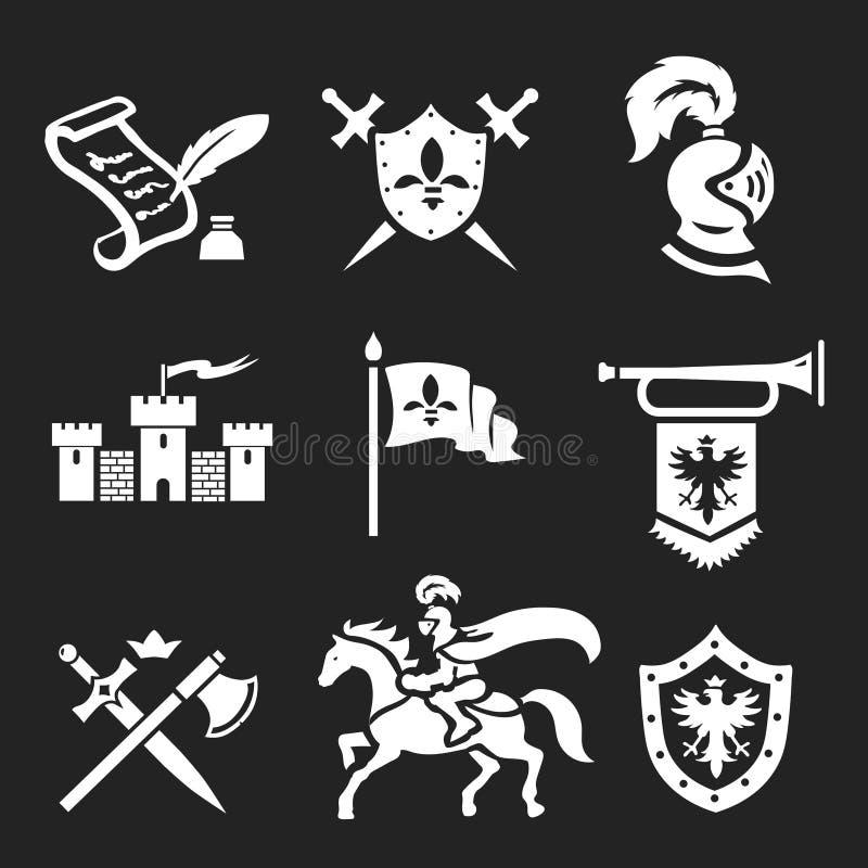 Armatura del cavaliere ed insieme medievali dell'icona delle spade illustrazione di stock