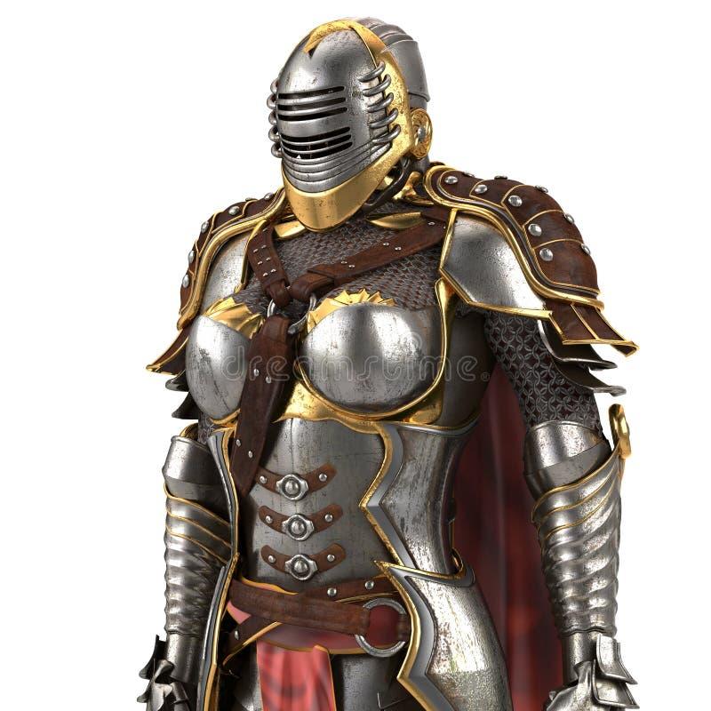 Armatura medievale della fantasia in pieno delle donne con un casco chiuso e un capo rosso Fondo bianco isolato illustrazione 3D illustrazione di stock