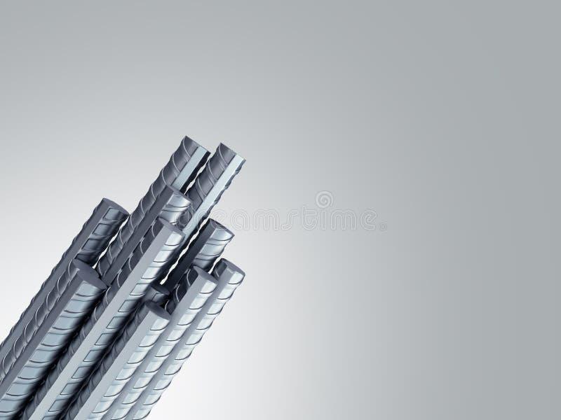 Armature стали стального прута подкрепления строя от угловой иллюстрации 3d на сером градиенте иллюстрация вектора