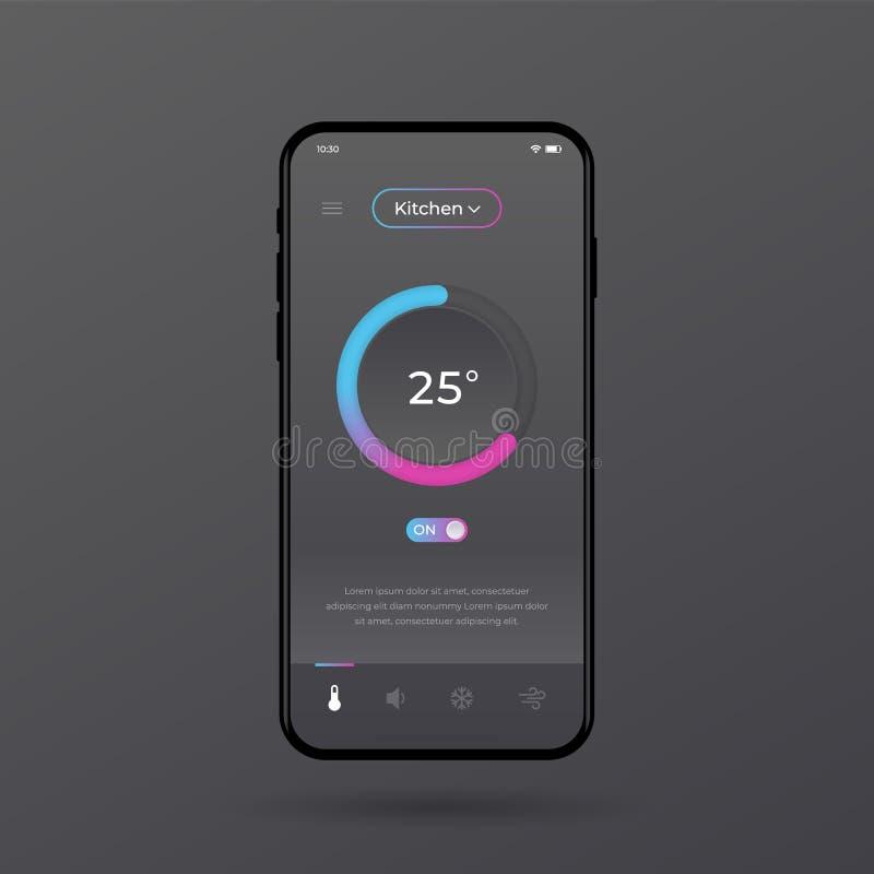 Armaturenbrett UI und UX-Ausrüstung Zentraledesign Temperaturüberwachung im Raum lizenzfreie abbildung