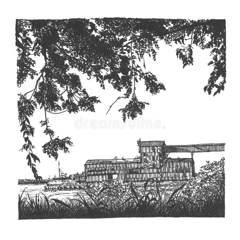 Armazém abandonado do porto ilustração royalty free