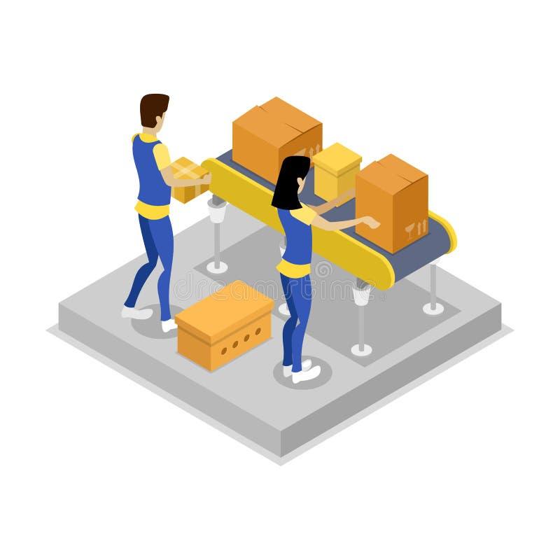 Armazém com ícone 3D isométrico do transporte ilustração stock