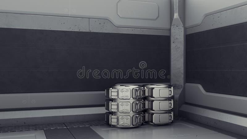 Armazém da ficção científica onde os recipientes são armazenados Laboratório em uma nave espacial 3d rendem ilustração royalty free