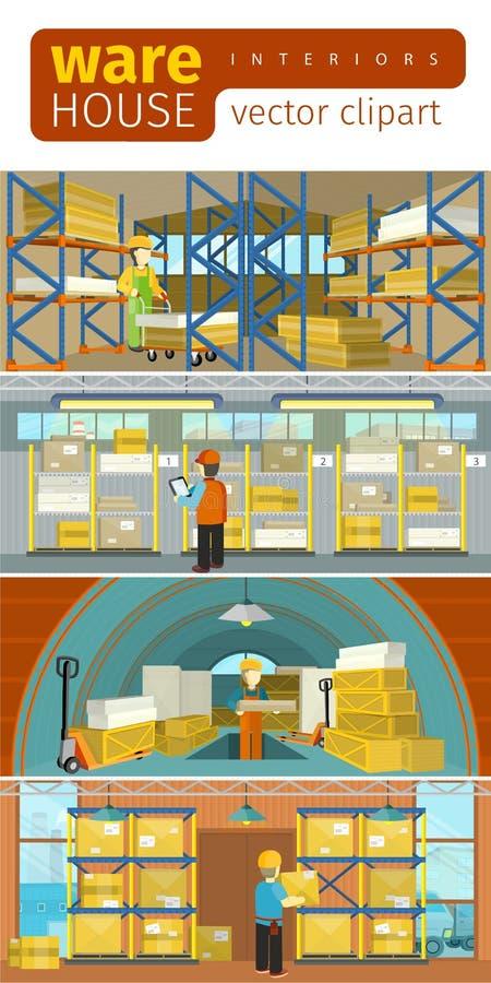 Armazém do equipamento de Infographics do conceito ilustração do vetor
