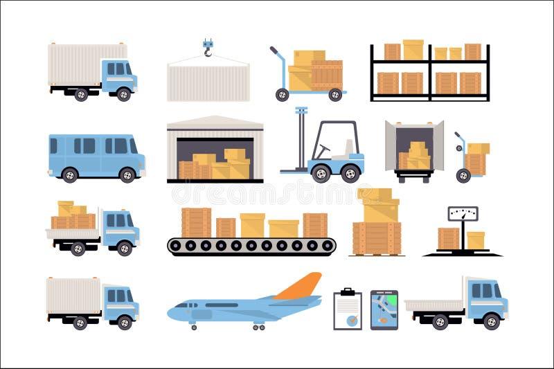 Armazém e grupo logístico, prateleiras com bens, caminhão de entrega, avião, escalas, caixas de cartão, entrega e armazenamento ilustração stock