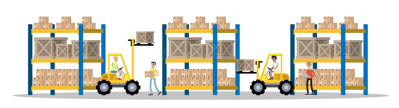Armazém ou illsutration do interior da construção de serviço da entrega ilustração royalty free