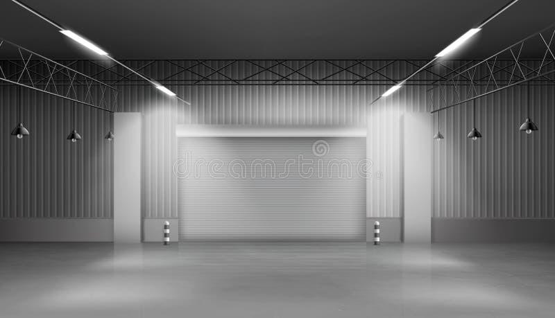 Armazém vazio, interior do armazém, fábrica ilustração royalty free